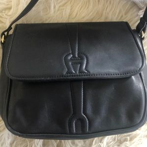 Black Etienne Aigner Leather Shoulder Crossbody